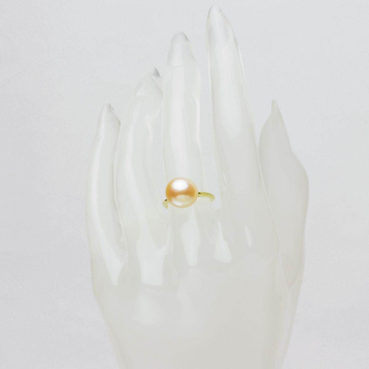 高級淡水真珠 パール リング 約10.85mm ゴールド K18 オレンジ ボタン珠の写真