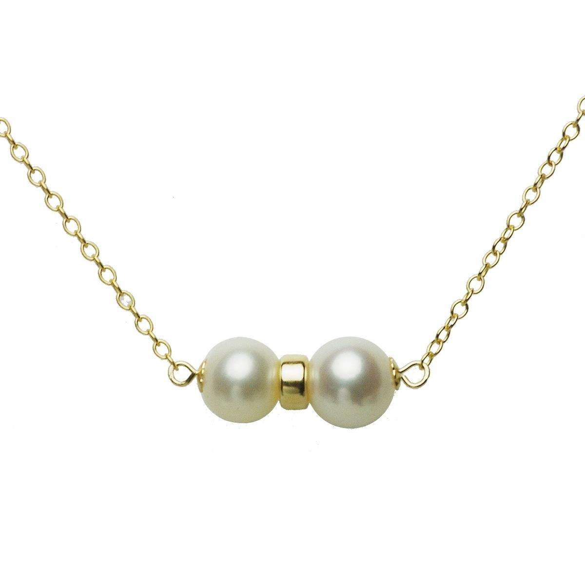 淡水 真珠 パール オリジナル コンビ ネックレス 7.5 8.5mm 14金 ゴールドフィールド K14GF ギフト プレゼントの写真