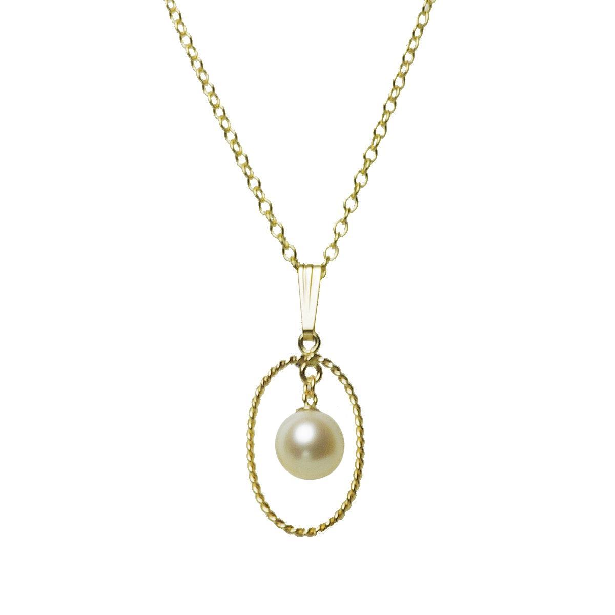 淡水 真珠 パール ラインサークル 一粒 ペンダント 7mm 14金 ゴールドフィールド K14GF ギフト プレゼントの写真