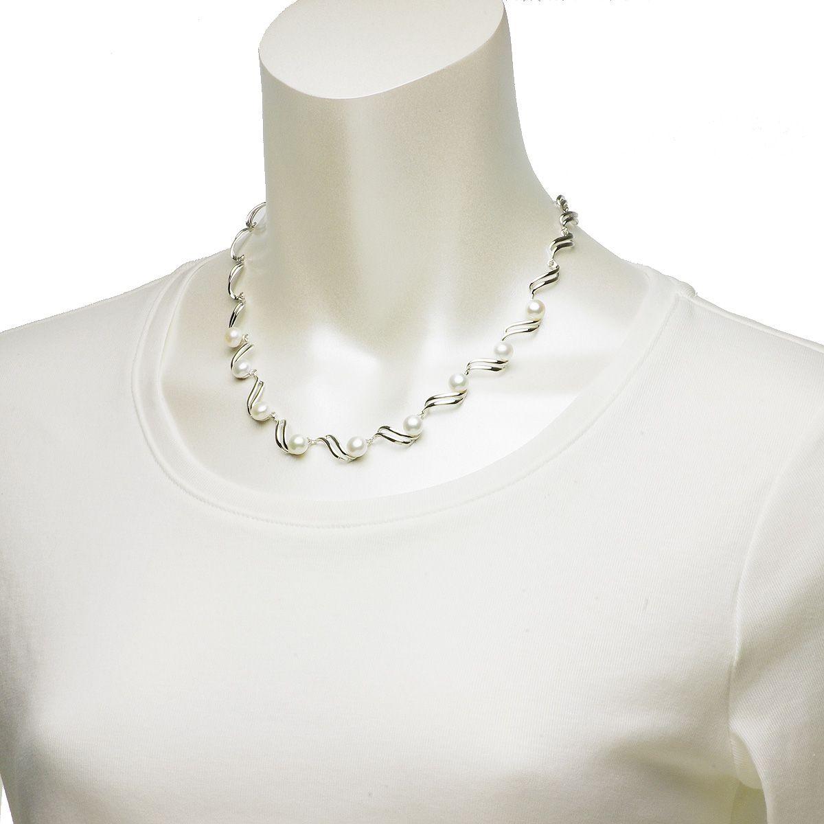 高級 淡水 真珠 パール オリジナル デザイン ネックレス 約6.5-7.0mm シルバー SV925 ボタンの写真