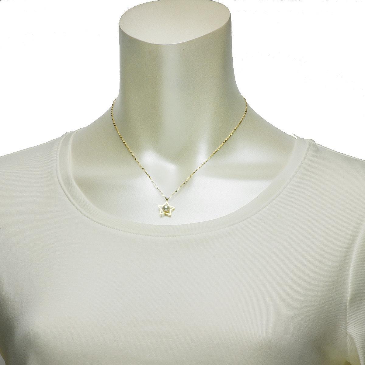 淡水 真珠 パール 一粒 ペンダント 5.0mm 18金 K18 スター モチーフ 星型 ギフト プレゼントの写真