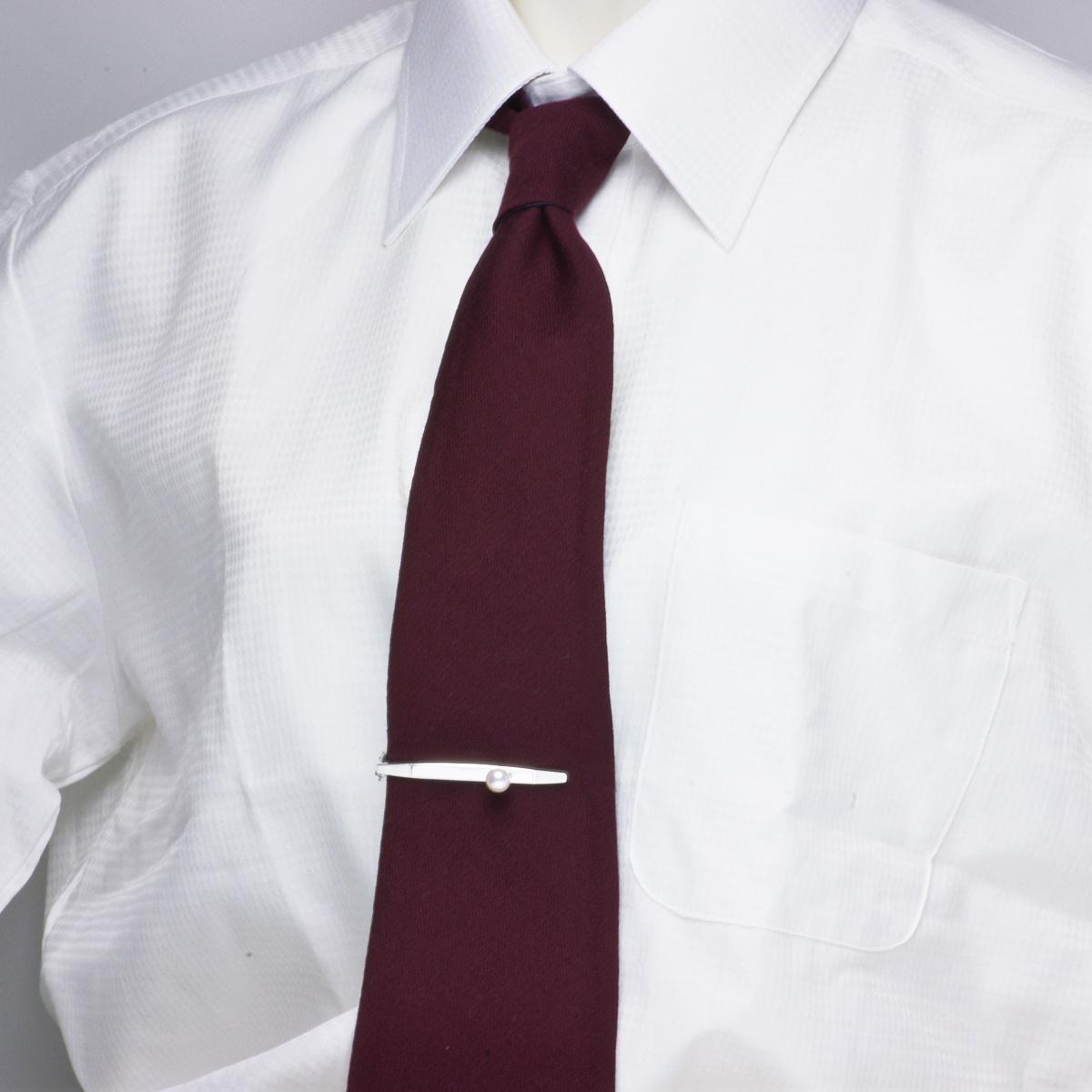 高級 淡水真珠 7.0mm パール ネクタイピン (タイピン) ギフト プレゼントの写真