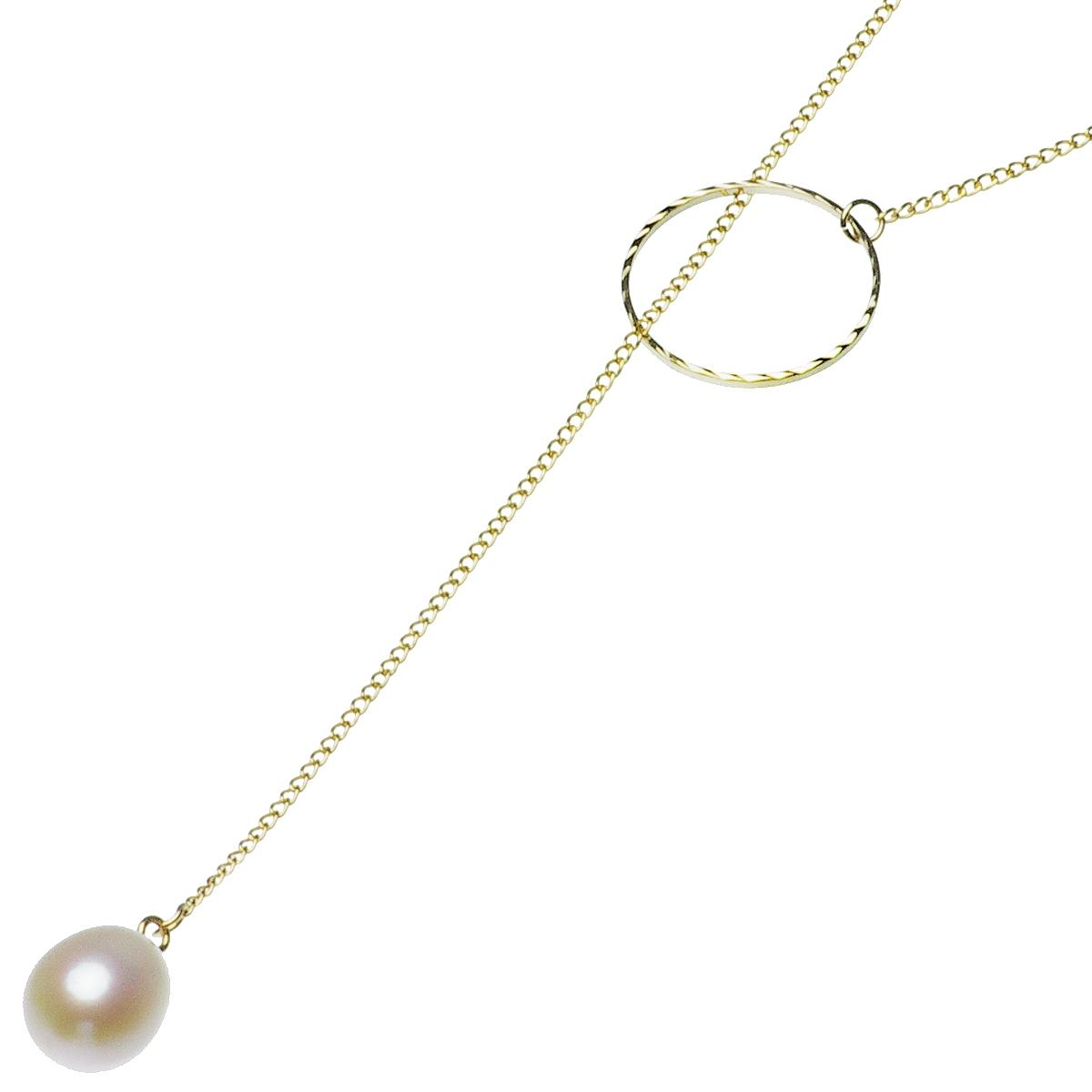 淡水真珠 ロング ラリエット ネックレス 約9.0-9.5mm 14金 ゴールドフィールド K14GFの写真