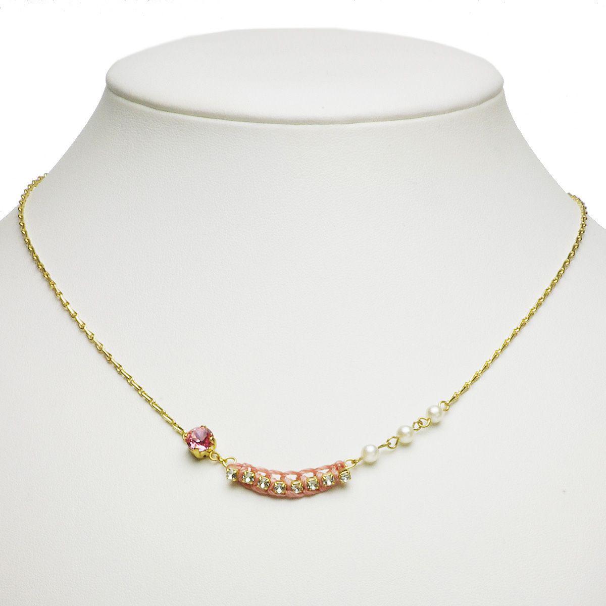 アコヤ真珠 パール スワロフスキー ネックレス 約4.0-4.5mm シンチュウ 合金の写真
