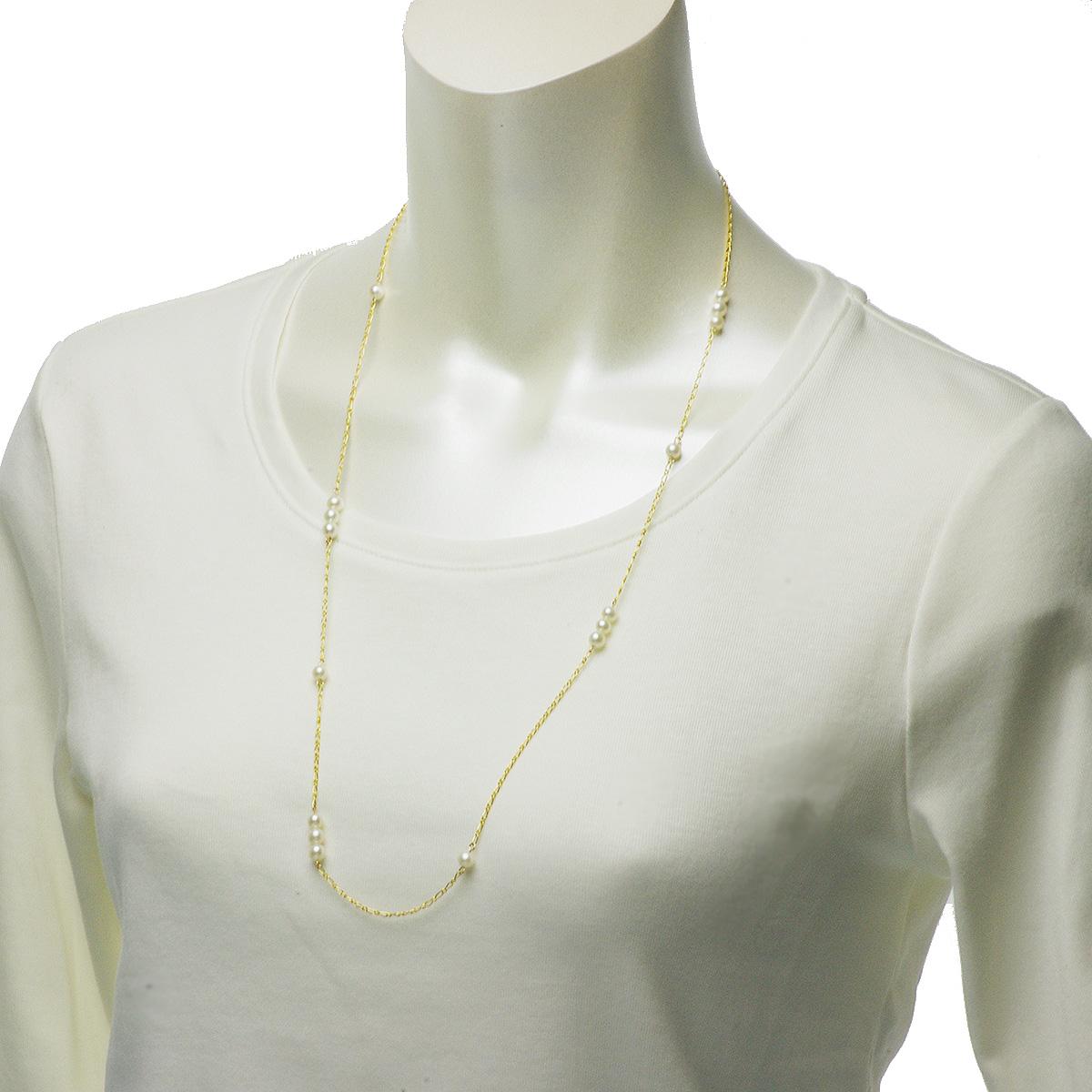 淡水 真珠 シンプル パール ステーション ネックレス 5-5.5mm 14金 ゴールドフィールド K14GF ギフト プレゼントの写真
