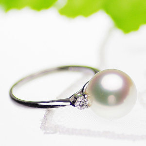 南洋白蝶真珠リング 約9.5mmの写真