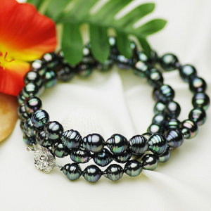 タヒチ黒蝶真珠ロングネックレス 約9-11.5mmの写真