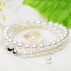 オーロラ 花珠真珠 アコヤ パール ネックレスセット 約7.5-8.0mmの写真