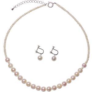 アコヤ 淡水真珠 ネックレス イヤリング セット 2.0mm 7.5mmの写真