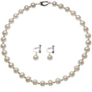 大粒 淡水真珠 ネックレス イヤリング セット 9.0-10.0mmの写真