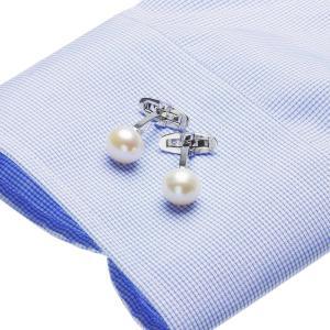 高級 淡水真珠 パール 約11.0mm カフスボタン (カフリンクス) メンズの写真