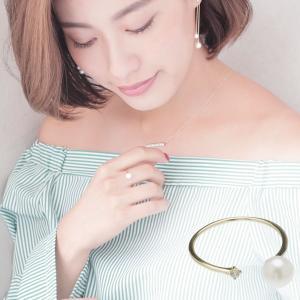 淡水 真珠 ダイヤ フォークリング 約5.5mm-6.0mm K10YGの写真