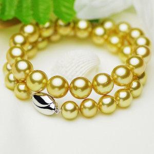 南洋白蝶ゴールデン真珠フォーマルネックレス 約10.0-12.2mmの写真