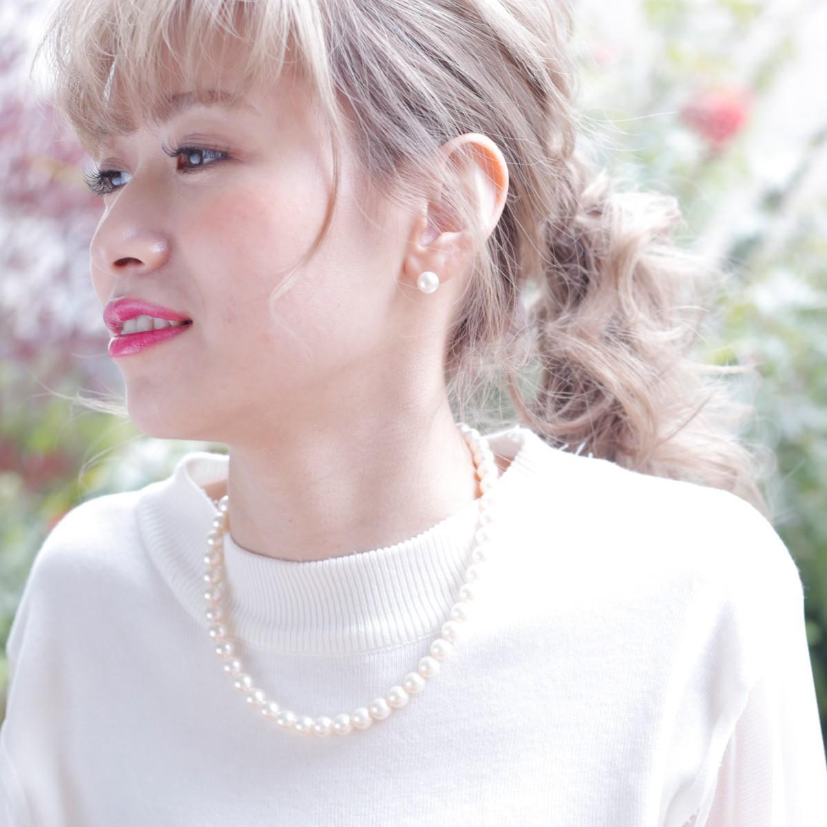 アコヤ 真珠 ピアス ネックレス セット 約8.5-9.0mmの写真