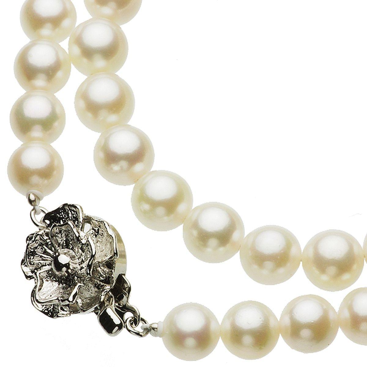 真珠ネックレス ピアス セット アコヤ真珠 約7.0-7.5mm シルバー sv 521の写真