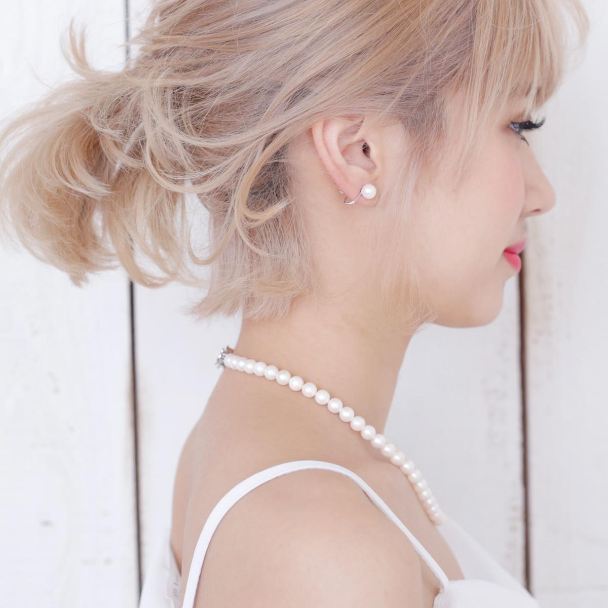 アコヤ 真珠 ネックレス ピアス セット 約7.5-8.0mmの写真