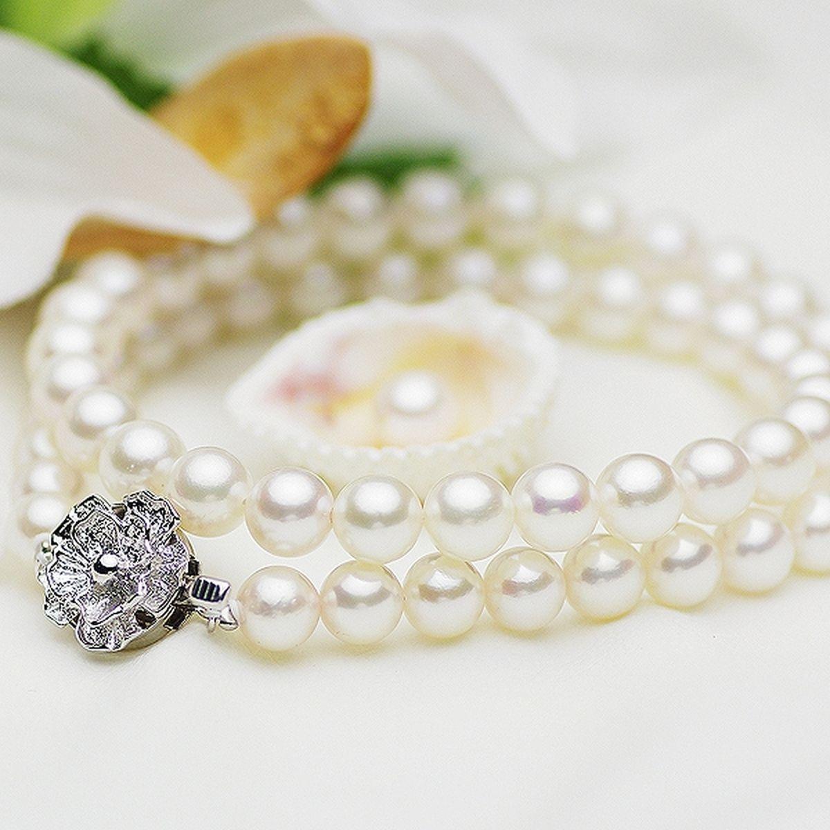 アコヤ 真珠 ピアス ネックレス セット 約7.0-7.5mmの写真