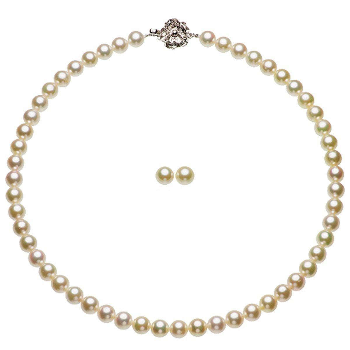 アコヤ 真珠 ピアス ネックレス セット 約7.5-8.0mmの写真