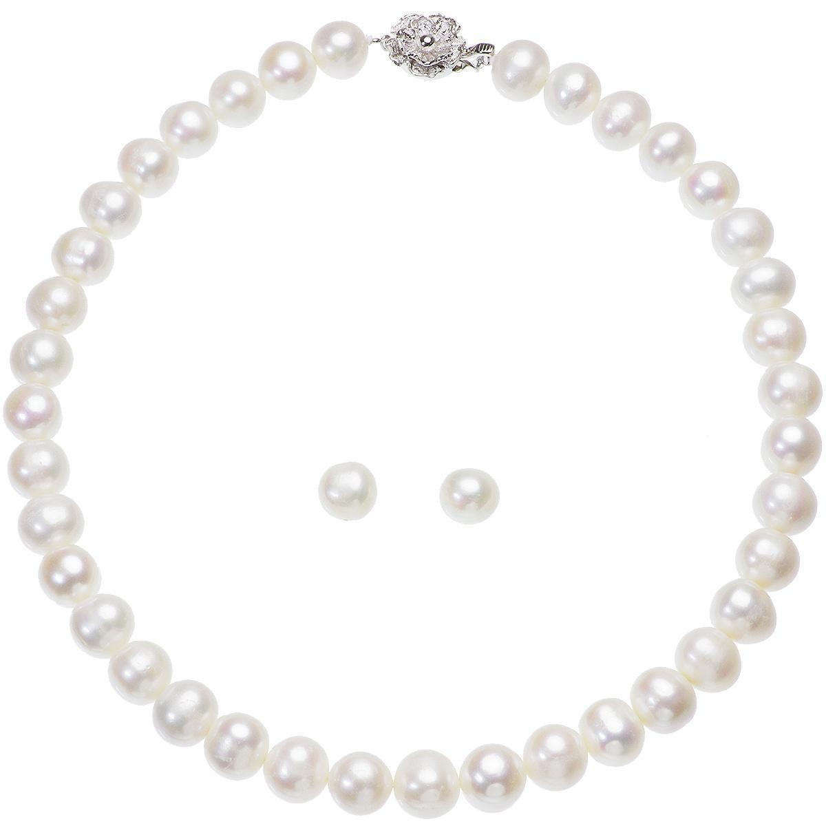 高級 淡水真珠 大粒 パールネックレス 結婚式 約10.0mm-11.5mm ホワイトピアスセットの写真