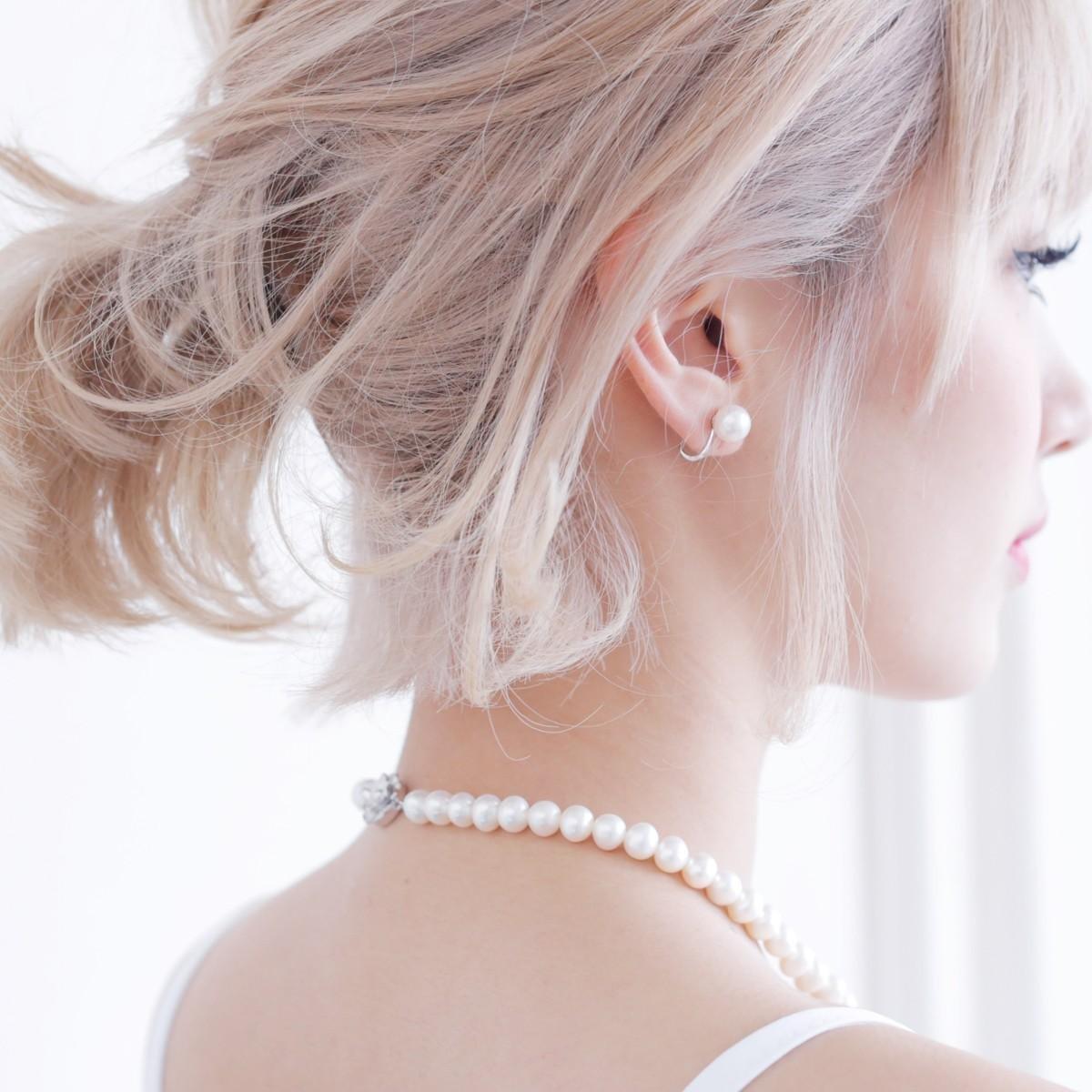 高級 淡水真珠 パール ピアス ネックレス セット 約8.0-8.5mmの写真
