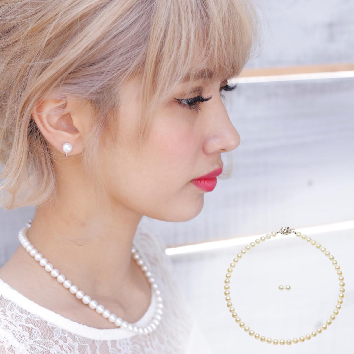 高級 淡水真珠 イヤリング ネックレス セット 約7.0-7.5mmの写真