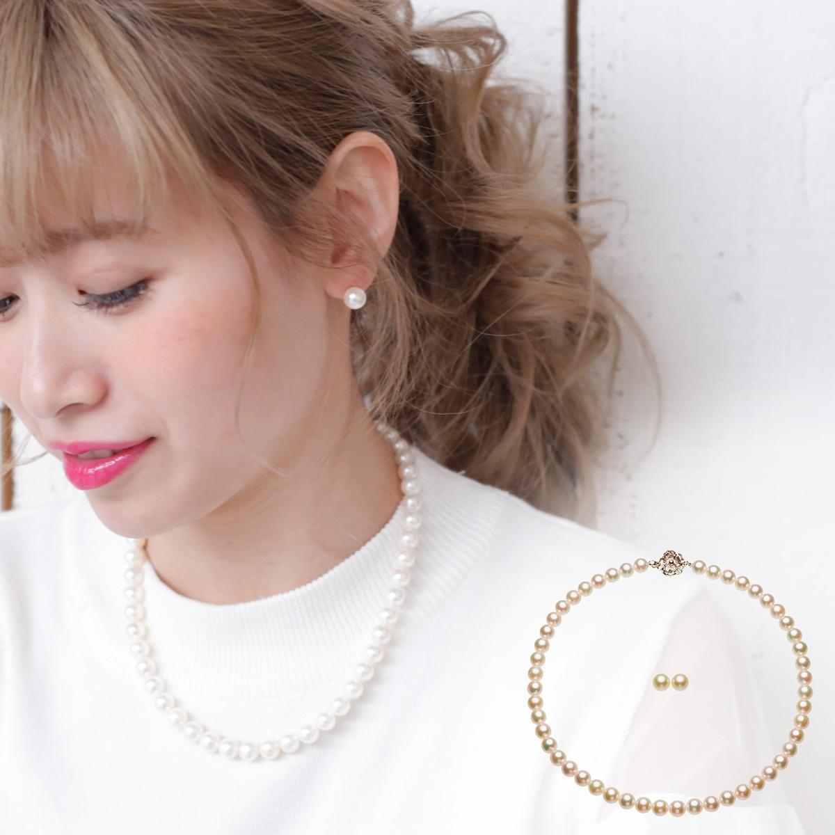 アコヤ 真珠 イヤリング ネックレス セット 約8.0-8.5mmの写真