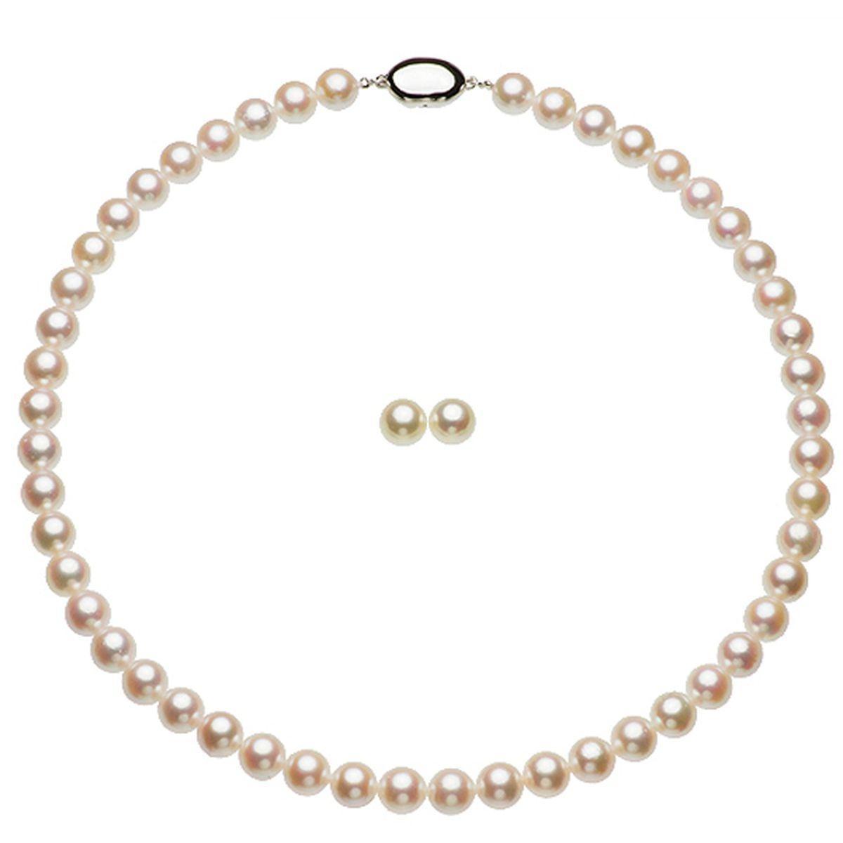 アコヤ 真珠 パール イヤリング ネックレス セット 約8.0-8.5mmの写真