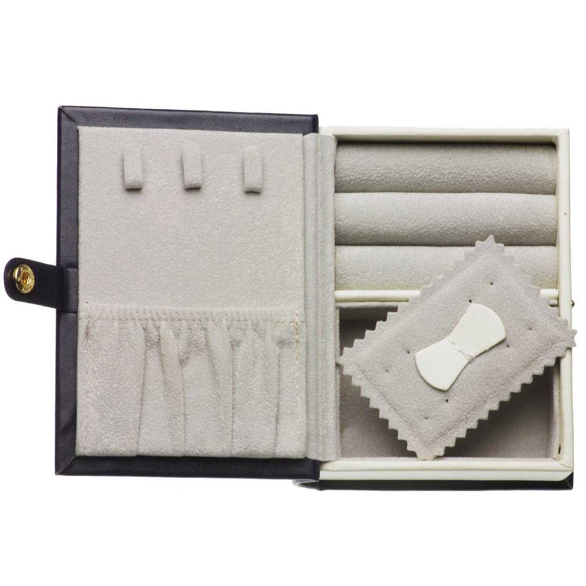 ブック型ジュエリーボックス ジュエリーケース 大容量 アクセサリーボックス トラベル ネイビーの写真