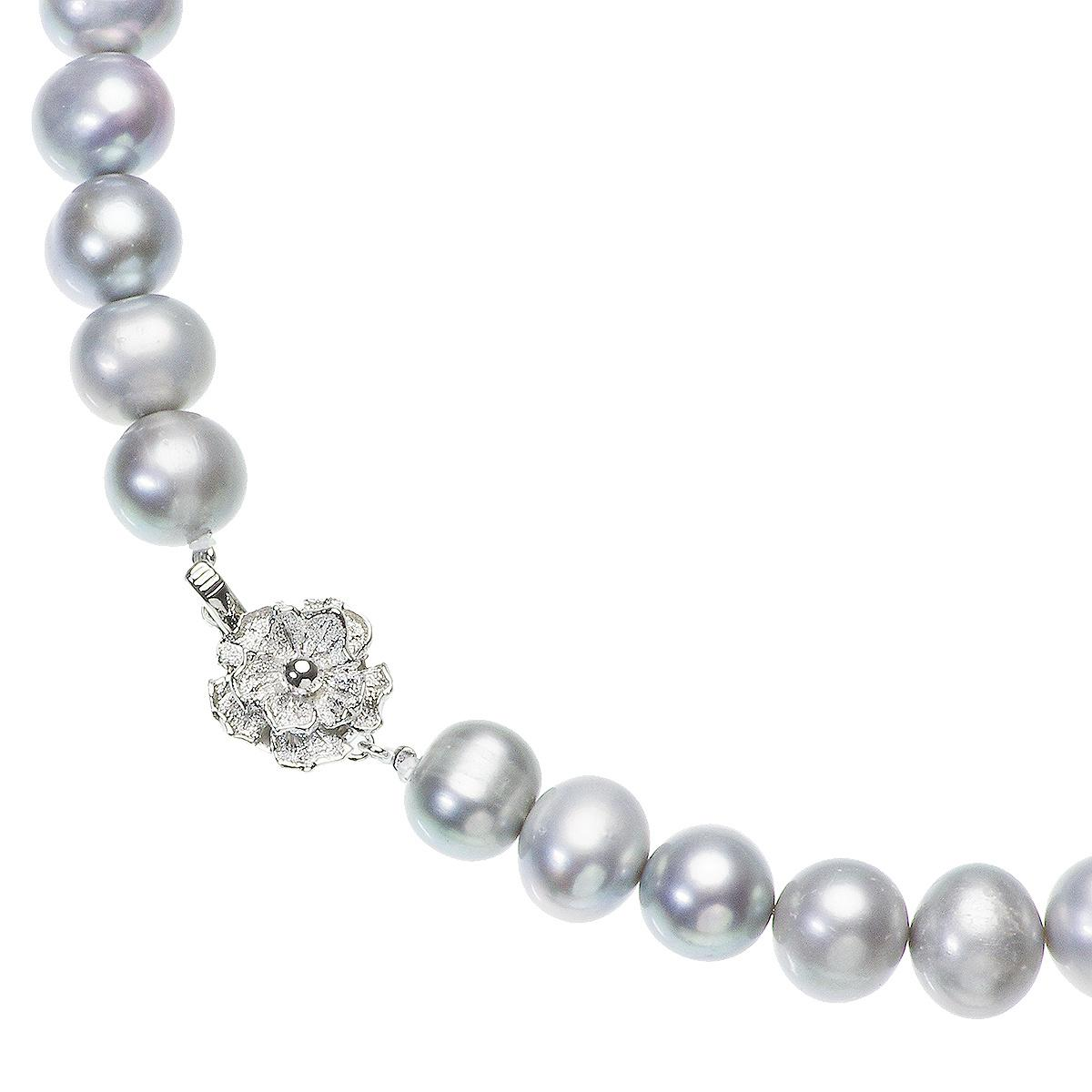 高級 淡水真珠 大粒 パールネックレス 結婚式 約10.0mm-11.5mm グレーピアスセットの写真