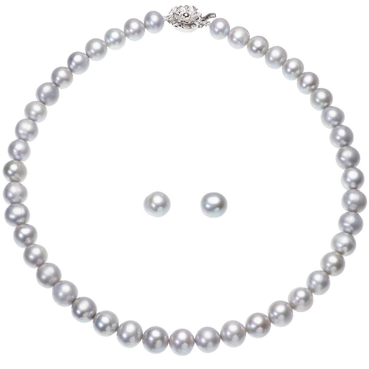 高級 淡水真珠 大粒 パールネックレス 結婚式 約9.0mm-10.5mm グレーピアスセットの写真