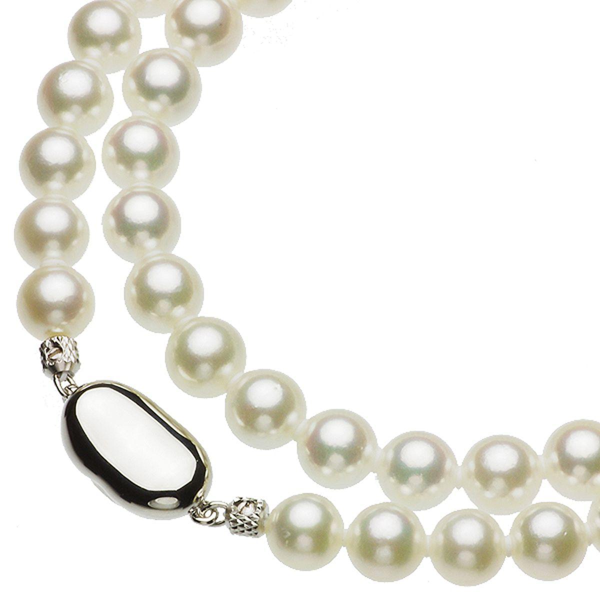 アコヤ 花珠 真珠 イヤリング ネックレス セット 約7.0-7.5mmの写真