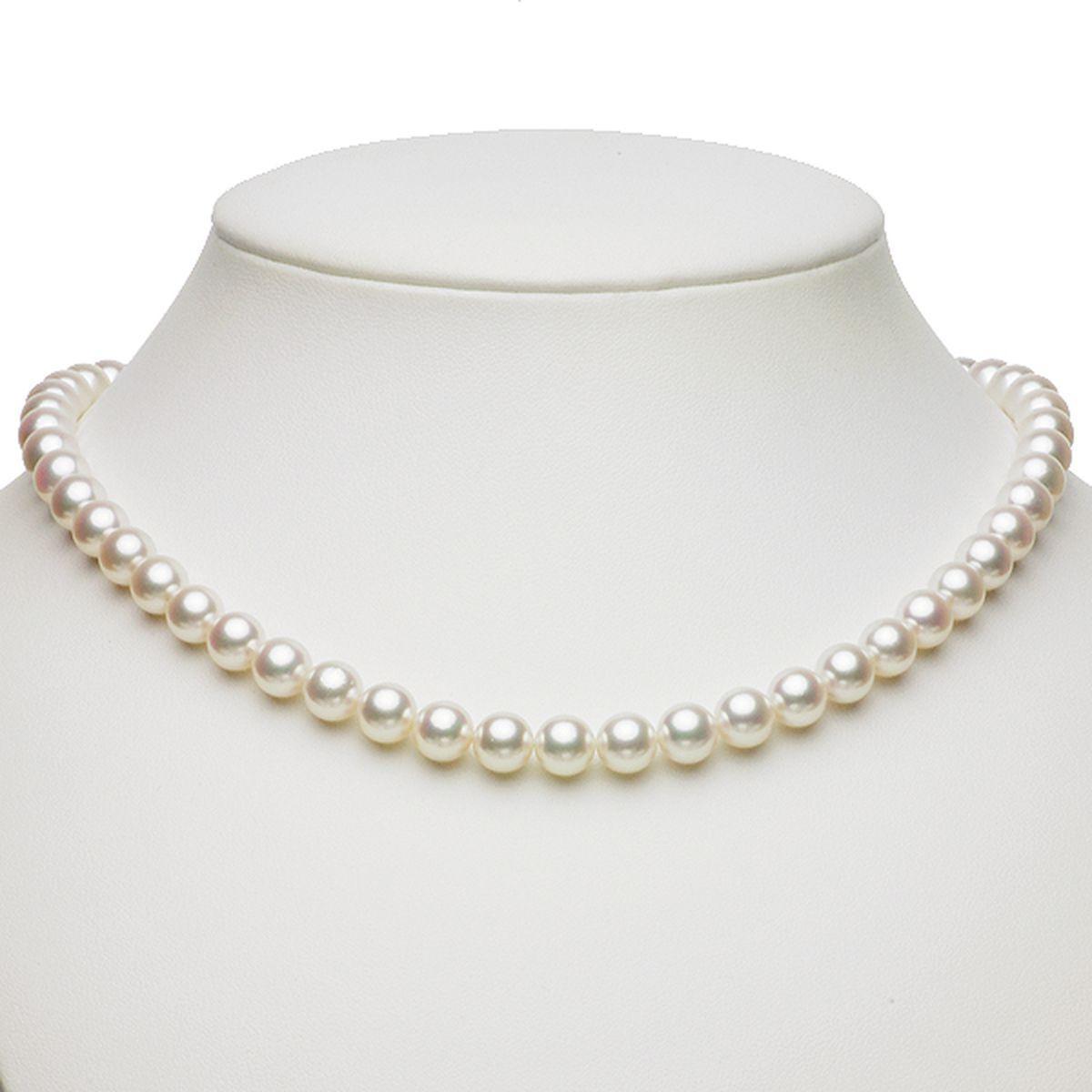 アコヤ 花珠 真珠 イヤリング ネックレス セット 約7.5-8.0mmの写真