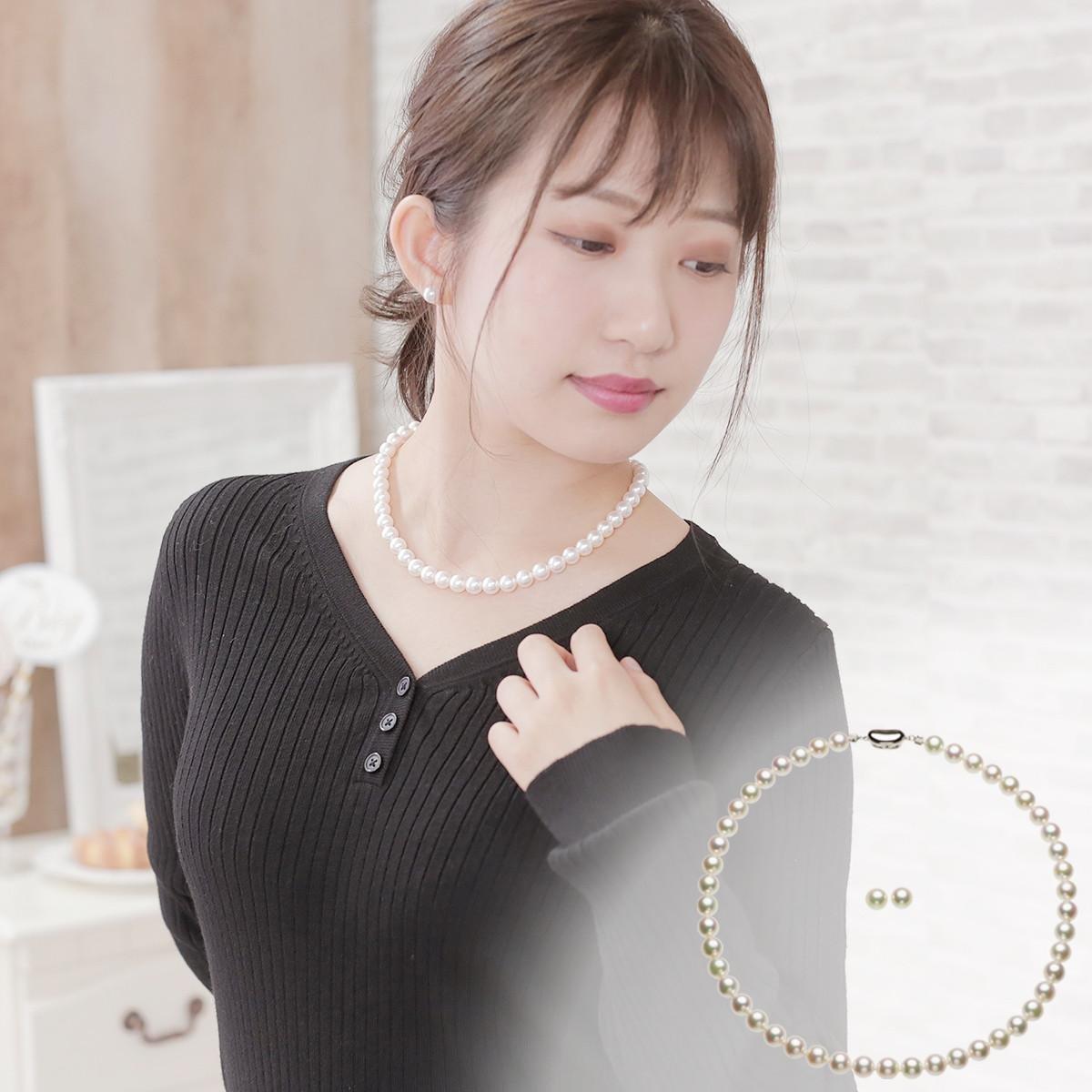 アコヤ 花珠 真珠 イヤリング ネックレス セット 約8.0-8.5mmの写真