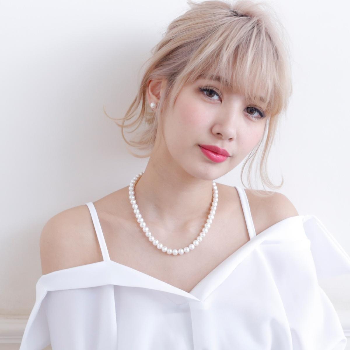 高級 淡水真珠 パール イヤリング ネックレス セット 約8.0-8.5mmの写真
