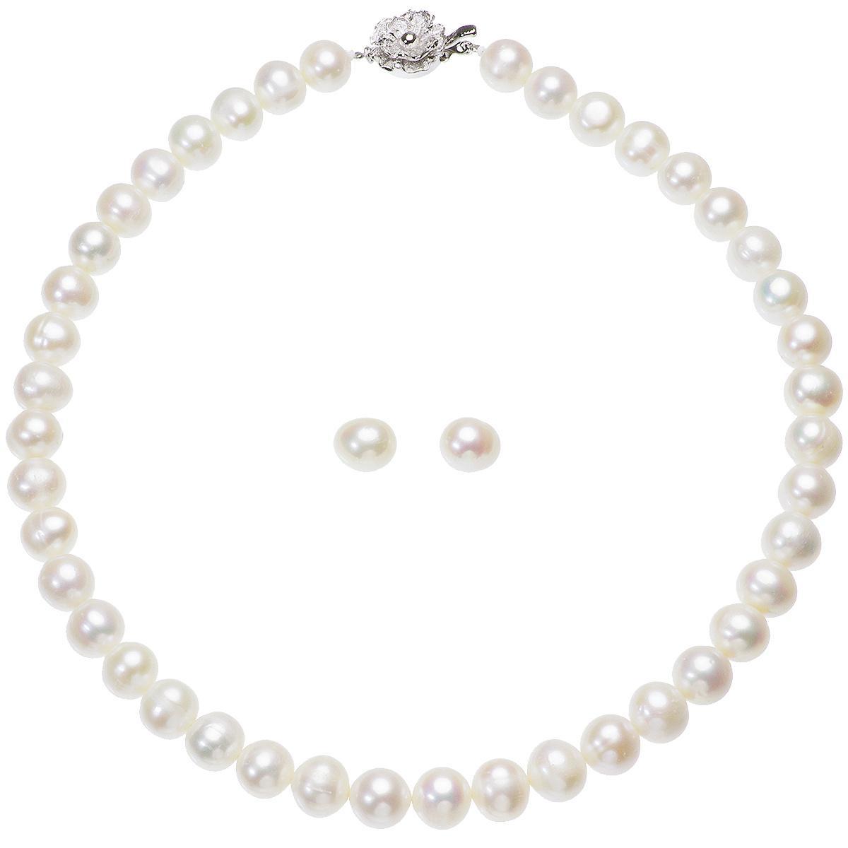 高級 淡水真珠 大粒 パールネックレス 結婚式 約9.0mm-10.5mm ホワイトイヤリングセットの写真