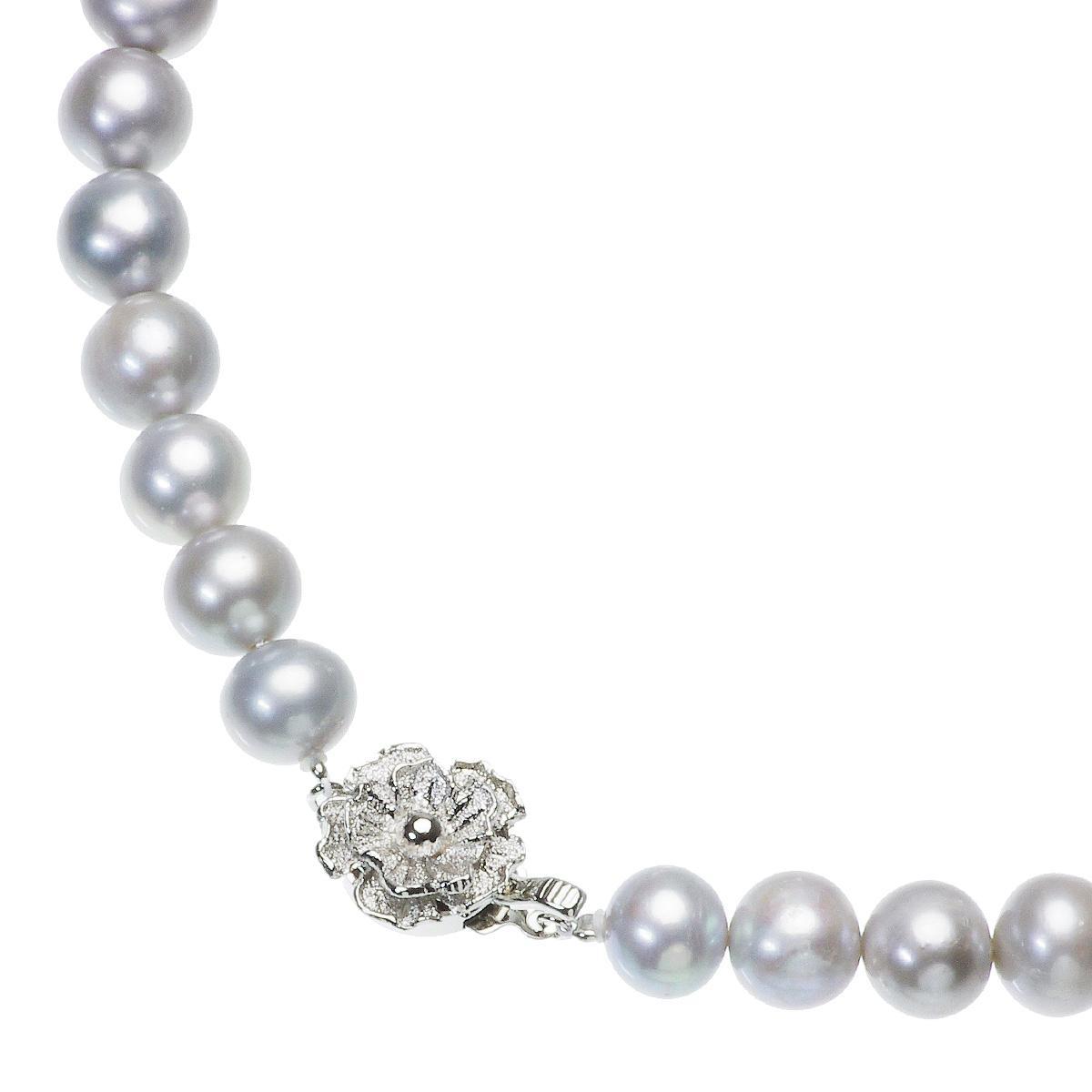 高級 淡水真珠 大粒 パールネックレス 結婚式 約9.0mm-10.5mm グレーイヤリングセットの写真