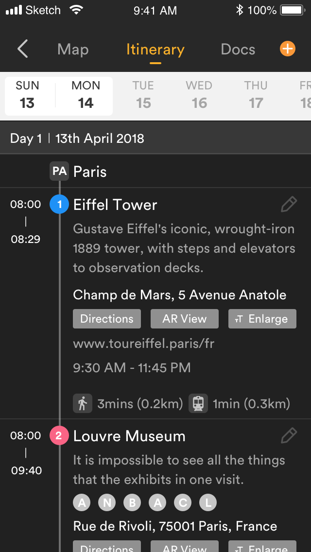 APP Itinerary View Image