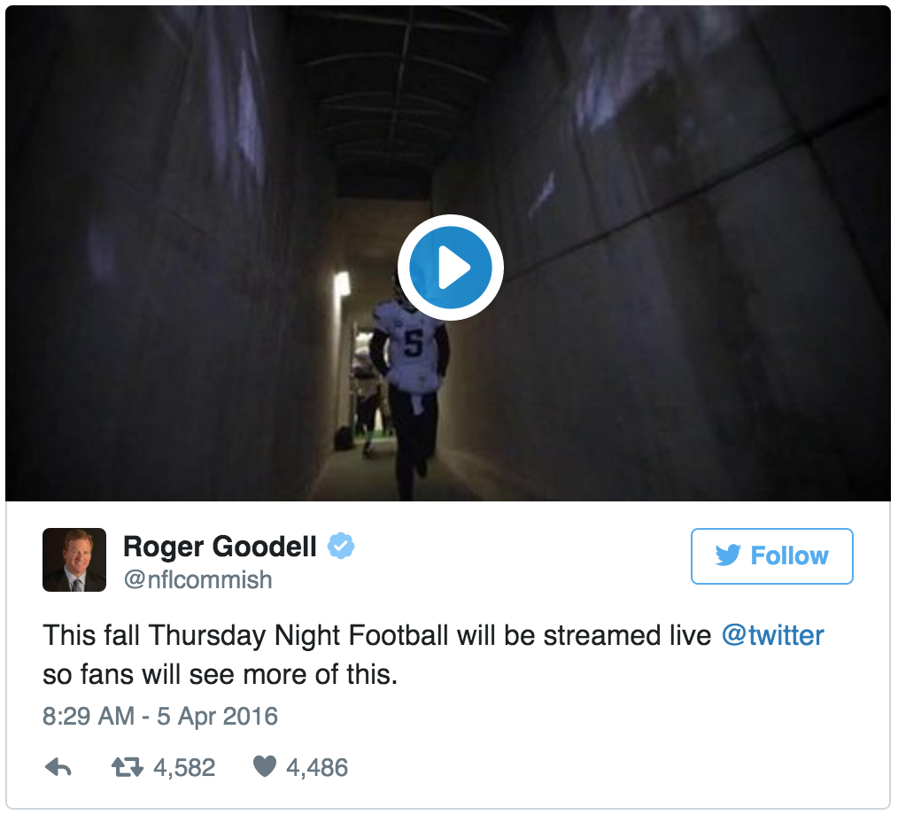 NFL Announces Twitter Live Streaming