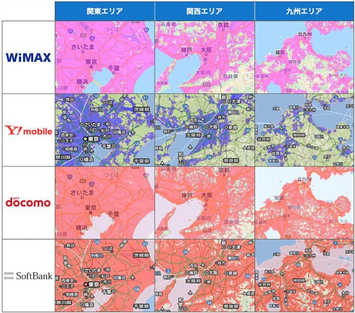 各サービスの通信エリア比較