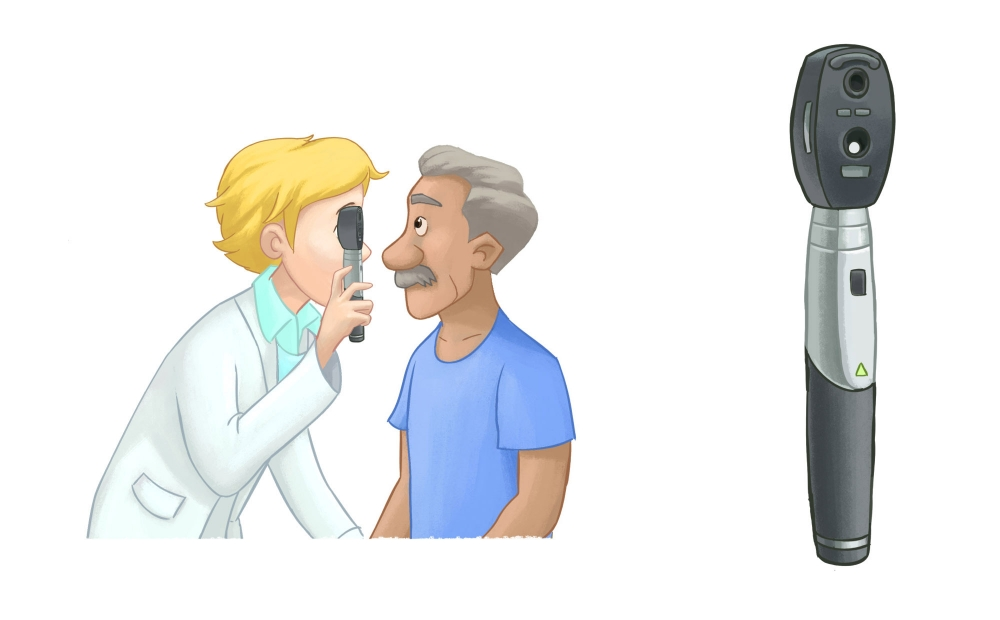 A doctor performing ophthalmoscopy on a patient.