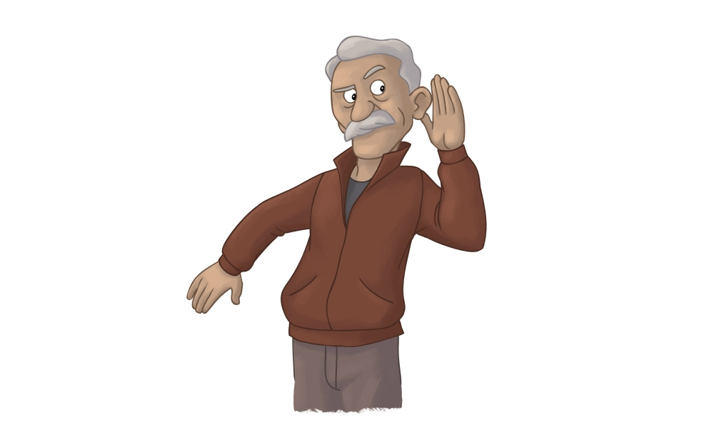 Elderly man cupping his ear and straining to hear.