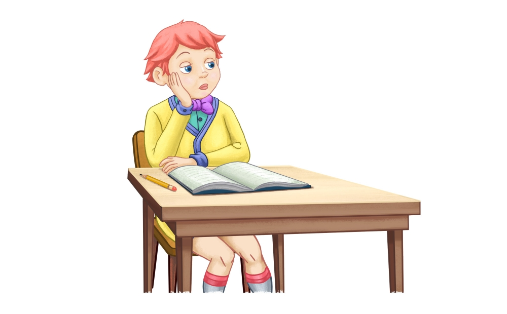Boy with ADHD seated at a desk, not attending his school work.