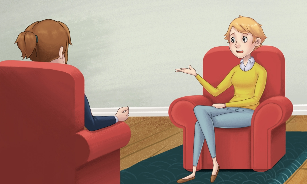 A young woman in a session with a therapist.