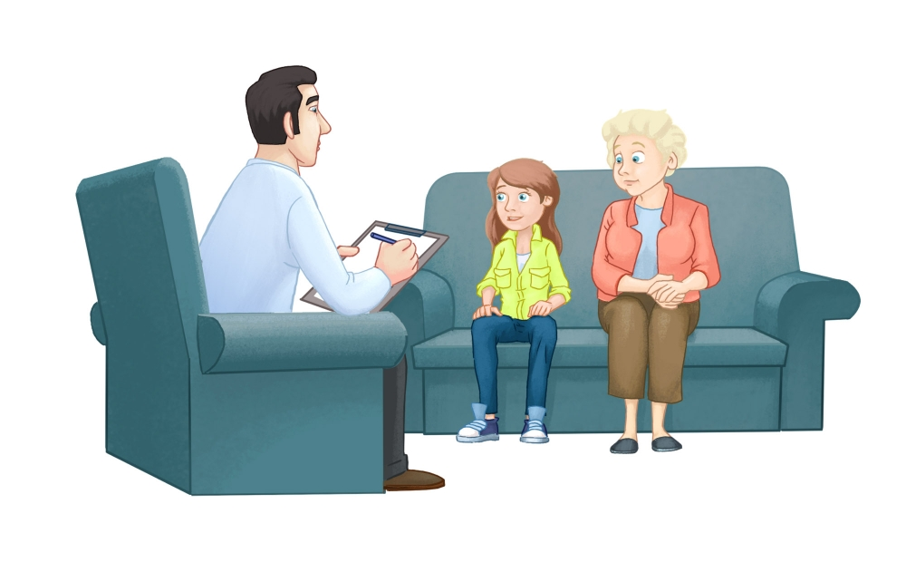 Mental health practitioner talking with a young girl with oppositional Defiant Disorder and her mother.
