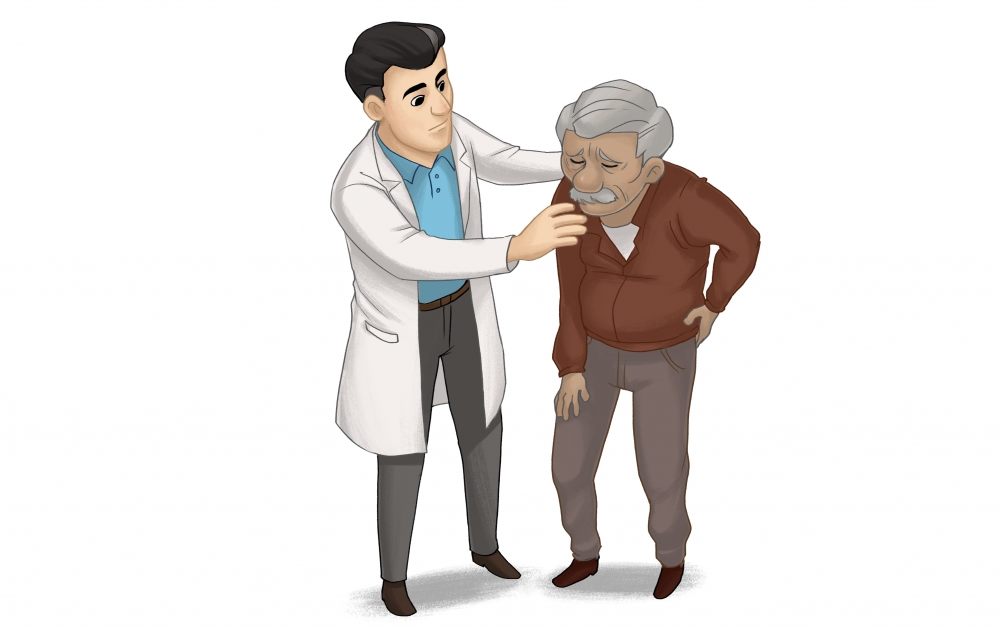 Doctor supporting a man experiencing chronic pain.