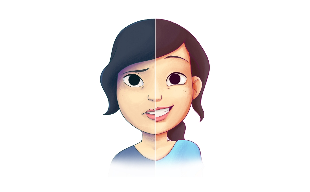 Young woman's face, half of the face has a happy expression and the other half has a sad expression.