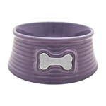 Dogit Dogit Ceramic Dog Bowl Round Grooves Purple