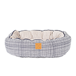 Mog and Bone Mog And Bone Reversible Circular Bed Navy Linen Print