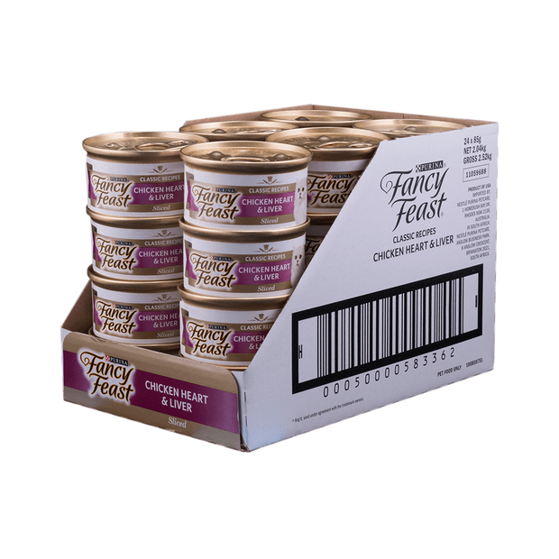 Pet Supplies 85gm New Fancy Feast White Label Chicken Heart And Liver