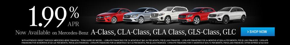 1.9% APR on Mercedes-Benz A-Class, CLA-Class, GLA Class, GLS-Class, GLC